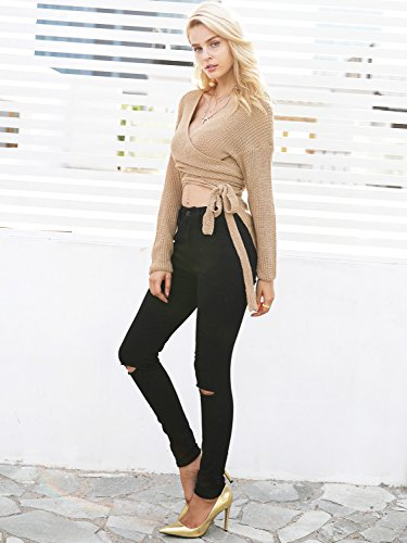 Apparel Sleeve Asymmetric Sweater Khaki Hem Women's Long Crop Sexy Simplee Pullover Fnqx1wZUn