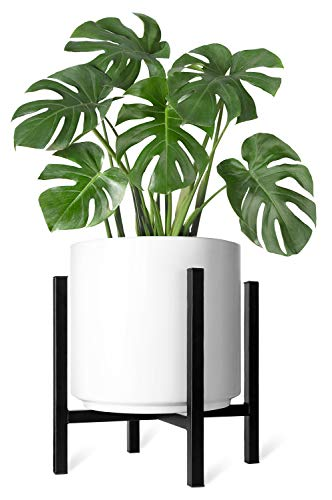 (Mkono Plant Stand Mid Century Modern Tall Flower Pot Stands Indoor Outdoor Metal Potted Plant Holder, Plants Display Rack Fits Up to 12 Inch Planter(Planter Not)