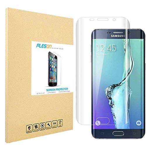 PLESON Samsung Galaxy S6 Edge Plus Screen Protector [Full Coverage], [2-Pack] Edge to Edge Screen Protector for Galaxy S6 Edge Plus HD Clear/Anti-Bubble/Invisible Curved Edge Cover