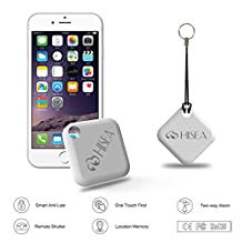 Hisea Key Finder Phone Tracker GPS Tracker Device with Replaceable Battery and Anti-Lost Alarm Suit for iOS Android-1 Pack (White)