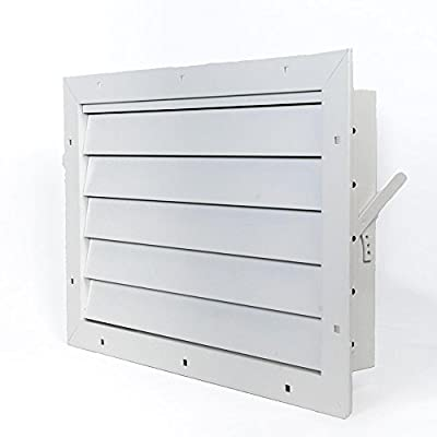 """Aluminum Garage Door Air Vent Grille Register - with Damper Control Lever for Winter & Summer Settings - with Insect Net Prevent Guard [Outer Dimensions: 17.5""""w X 12""""h]"""