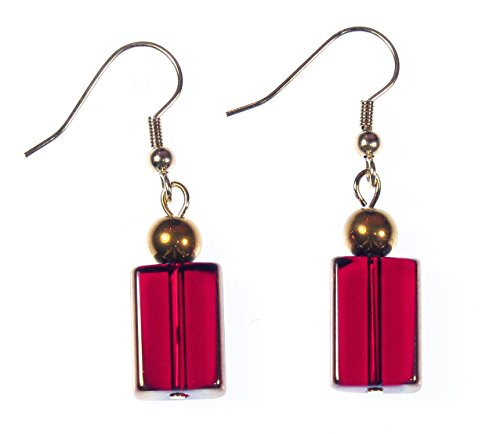 ARThouse Red Wine Lover Wine Red Glass Rectangles with Goldtone Accents; Dangle 1.5 Inches -