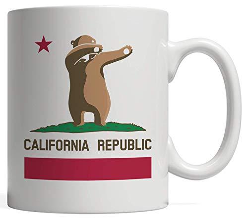 California Republic Mug | Dabbing Bear Flag Gift - State Pride, with the Star! For the Weekend Warriors, Watching Football, Baseball, and Basketball Games - Cali Life Los Angeles San Francisco