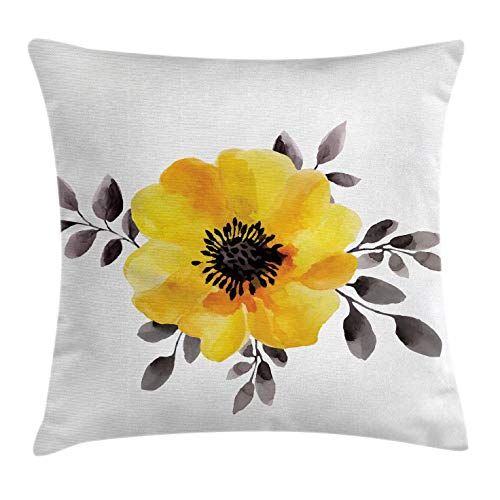 Ambesonne Flower Decor Throw Pillow Cushion Cover, Watercolored Image of Single Flower and Leaves Abstract Design Modern Art, Decorative Square Accent Pillow Case, 20 X 20 inches, Yellow and Grey