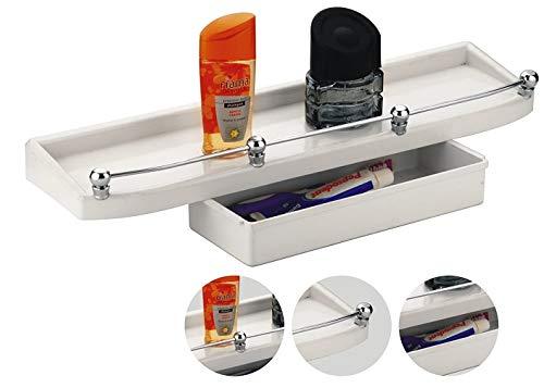 CIPLAPLAST Double Bathroom Shelf with 14 Pieces Multipurpose Buffers  White