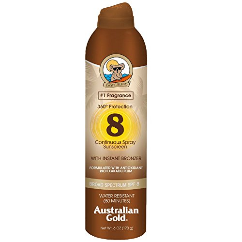 Australian Gold Continuous Spray Sunscreen with Instant Bronzer SPF 8 6 oz Pack of 5
