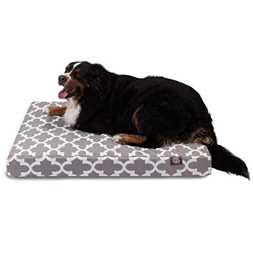 1 Piece Grey Trellis Pattern Dog Bed (Large), Elegant Geometric Print Pet Bedding For Puppies, Features Removable Cover, Water & Stain Resistant, Ultra Thick & Supportive, Rectangle Shape, Polyester by Unknown