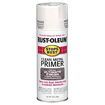 Rust-Oleum 7780830 Stops Rust Spray Paint, 12-Ounce, Flat White Clean Metal Primer
