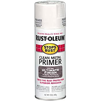 Rust-Oleum 7780830 Stops Rust Spray Paint, 12-Ounce, Flat White Clean Metal Primer