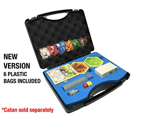Compact Catan Carrying Case by Citadel Black - Fits Catan 5th Edition and 5-6 Player Extension, Hard Plastic Traveling Case with Shake-proof and Quick Setup Design, New Version With Bags Included