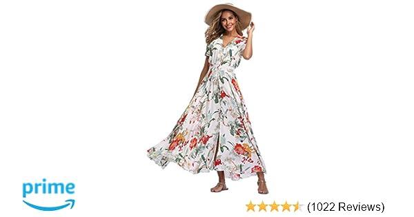 416091464d2 VintageClothing Women's Floral Maxi Dresses Boho Button Up Split Beach  Party Dress at Amazon Women's Clothing store: