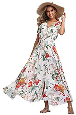 VintageClothing Women's Floral Maxi Dresses Boho Button Up Split Beach Party Dress - White - Small