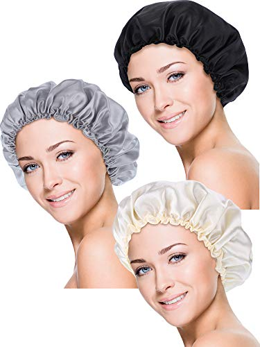 (Blulu 3 Pieces Sleep Cap Satin Bonnet Night Head Cover Sleeping Soft Hair Turbans for Women and Girls (Style Set 1))