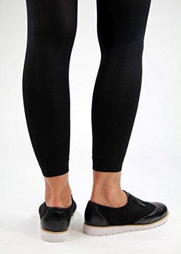 Slipper Flat schwarz Neue Womens Smart Brogue On Slip Schuhe Casual Metallic Pumps bequeme wUTgCTqx
