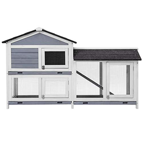 Purlove Pet Rabbit Hutch Wooden Bunny Cage Small Animals House for Outdoor/Indoor Use (The Best Rabbit Hutch)