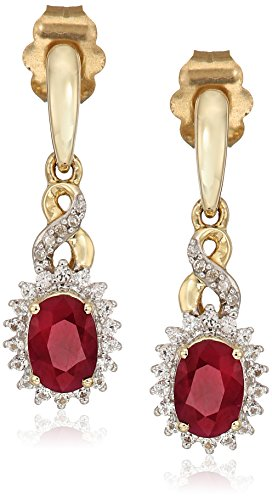 10k Yellow Gold Genuine Burmese Ruby Oval with Genuine White Sapphire and White Diamond Accent Twisted Fashion Earrings