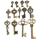 Set of 13 Antique Vintage Old Look Bronze Skeleton Key Fancy Heart Bow Ship Fast