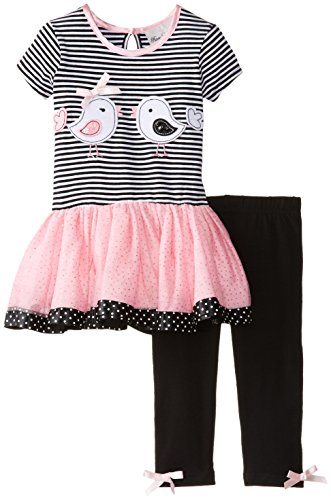 Rare Editions Baby Baby Girls' Bird Applique Tutu Legging Set, Black/White/Pink, 24 Months