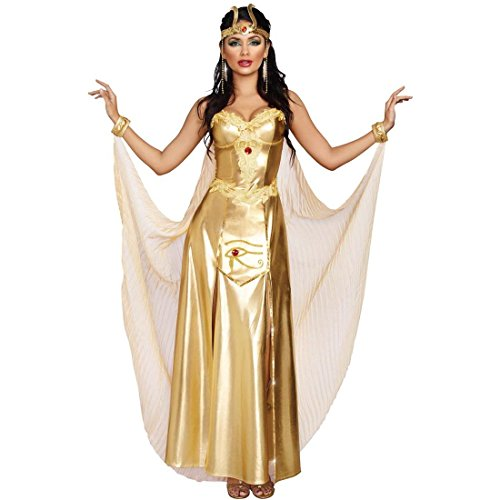 Dreamgirl Women's Goddess of Egypt Costume, Gold, Medium