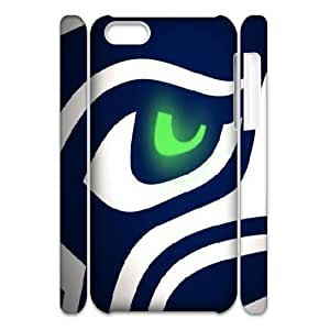 3D Seattle Seahawks Logo Eye IPhone 5C Case, [White]