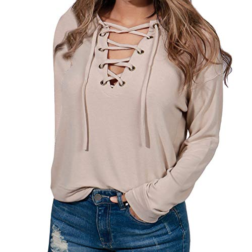 Sunhusing Women's V-Neck Cross Bandage Strap Long Sleeve Pullover Top Loose Casual Solid Color T-Shirt