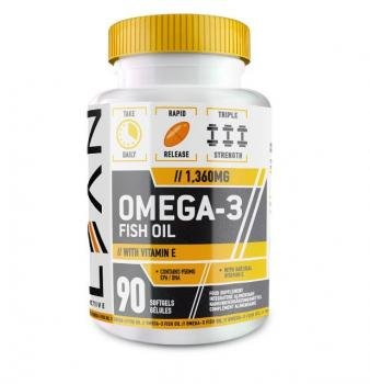 LEAN ACTIVE Aceite de Pescado Omega 3-1360mg Alta Concentración De Vitamina E - 90 Cápsulas de Gelatina Blanda: Amazon.es: Salud y cuidado personal