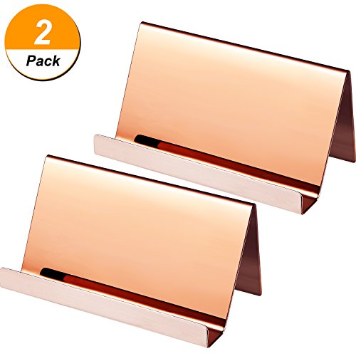 Maxdot 2 Pack Stainless Steel Business Cards Holders Desktop Card Display Business Card Rack Organizer (Rose - Business Card Neat