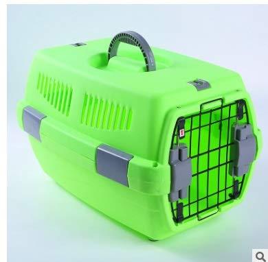 Green Zhong chuang Pet box pet suitcase flight cage, cat box pet air box cat air transport dog box travel cage portable car shipping box