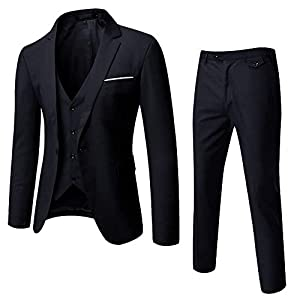 Best Epic Trends 41wsQpxefyL._SS300_ WULFUL Men's Suit Slim Fit One Button 3-Piece Suit Blazer Dress Business Wedding Party Jacket Vest & Pants