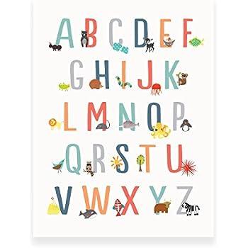 Amazon Com French Alphabet Nature Themed Wall Art Print