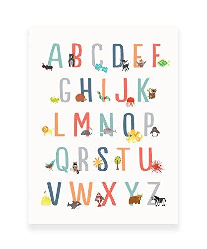 Animal Alphabet Poster, Wall Art Print 11x14, Nursery Decor, ABC Poster, Kid's Room Decor, Gender Neutral Nursery Decor, Baby Room Decor, Playroom Decor, Children Wall Art, Animal Nursery