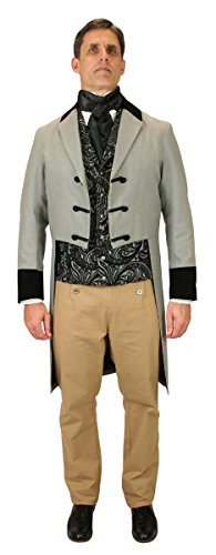 [Historical Emporium Men's Velvet Trimmed Sovereign Regency Tailcoat L Gray] (Sweeney Todd Halloween)
