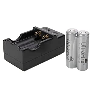 WorthTrust UltraFire 14500 1200mah 3.7v Rechargeable Li-ion Battery (Pair, Gray) + Charger