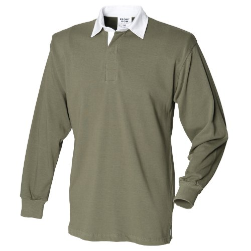 Front Row Long sleeve original rugby shirt Olive M