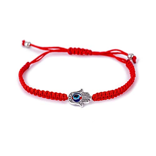1pc Evil Eye Hamsa Hand String Kabbalah Bracelets for Protection and Luck Hand-Woven Red Black Cord Thread Friendship Bracelet Anklet (HS025-1) ()
