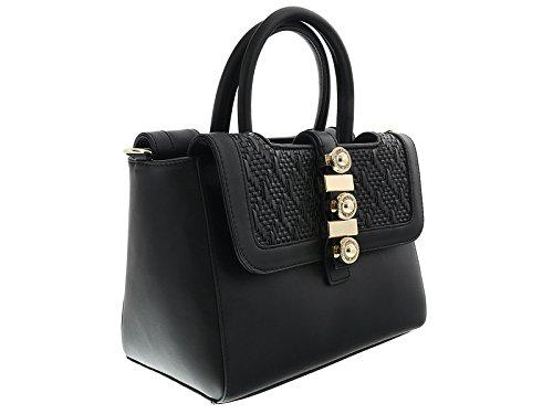Versace EE1VRBBH1 Black Satchel for (Versace Double Handles Bag)