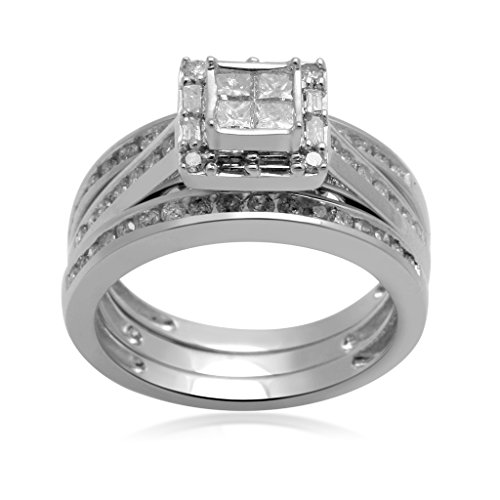 Jewelili 10kt White Gold 1cttw Princess, Baguette and Round Diamond Engagement Ring, Size 7