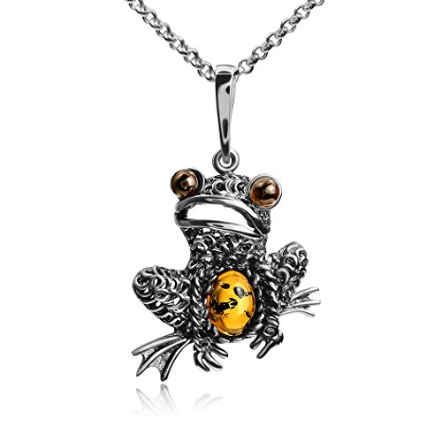 (Ian and Valeri Co. Multicolor Amber Sterling Silver Frog Pendant Necklace Chain 18