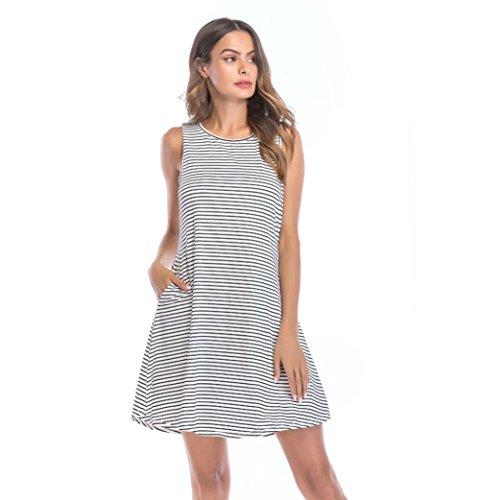 UOFOCO Summer Dress for Women Loose O-Neck Mini Dresses Striped Sleeveless Casual Swing ()