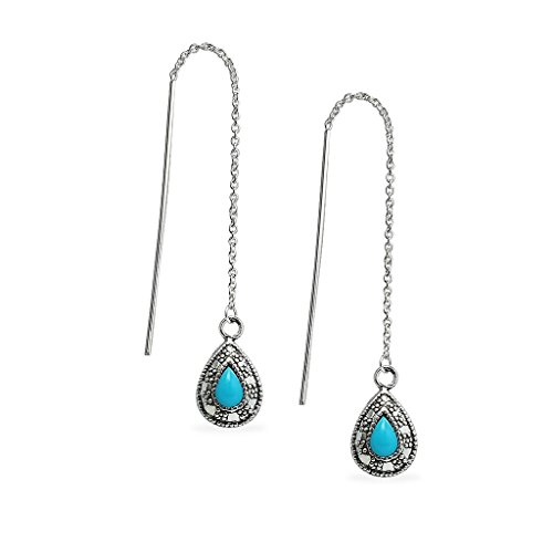 - Sterling Silver Teardrop Simulated Turquoise Long Threader Dangle Earrings