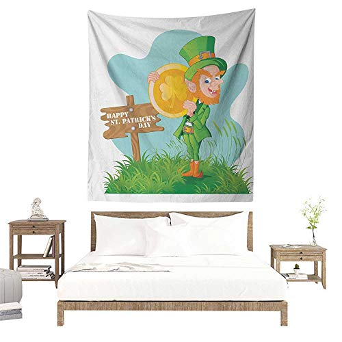 (Meikxf St. Patricks Day DIY Tapestry Festive Leprechaun with Costume Holding Large Shamrock Gold Coin on Hill Literary Small Fresh 57W x 74L INCH)
