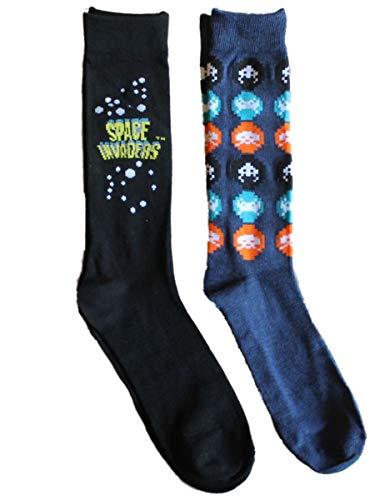 (Space Invaders Video Game 2 Pack Crew Socks Teen Adult)