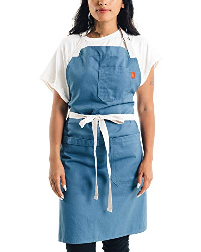 Caldo Cotton Kitchen Apron - Mens and Womens Professional Chef Bib Apron - Adjustable Straps with Pockets and Towel Loop (Vintage Blue)