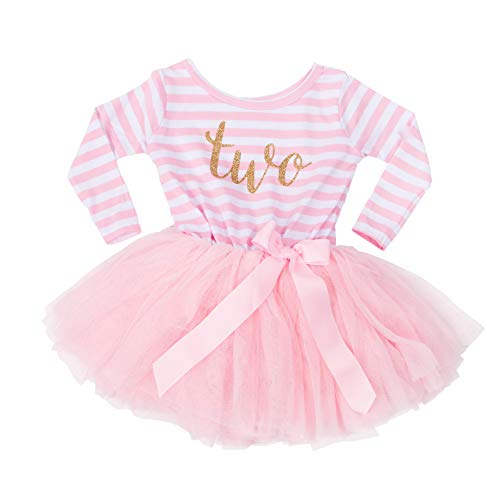 Grace and Lucille Pink Striped Long Sleeve Toddler Birthday Dress (Size-2t), Pink Striped Long Sleeve , Gold