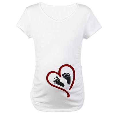 CafePress Baby Heart Feet Red Maternity T-Shirt