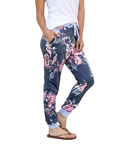 Womens Lounge (Coutgo Women's Casual Comfy Soft Stretch Floral Print Lounge Pants (L, Navy))