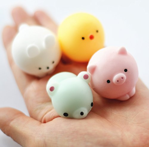 Foam Cutter Bow (FinerMe 4 Pcs Squishy Animals With Box Packages Mini Kawaii Chicken/Rabbit/Pig/Bear Soft Squishies Cute Animal Hand Toy Squeeze Stress Kids Toy Decompression Toy Christmas Birthday Gift)