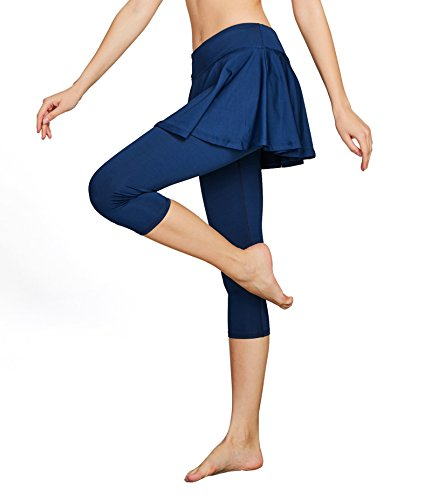 Cityoung Women's Yoga Capris Tennis Skirt with Leggings Size X-Large (Navy-a) -