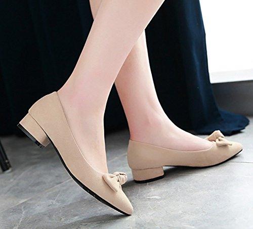Aisun Kvinna Mode Lågt Skuren Chunky Låg Klack Dressat Brudföljet Pekade Tå Slip På Pumpar Skor Med Rosett Beige