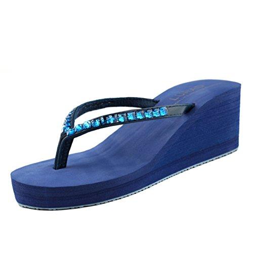 Diamante pendiente gruesa con las zapatillas de la palabra/Sandalias antideslizantes para damas de verano C